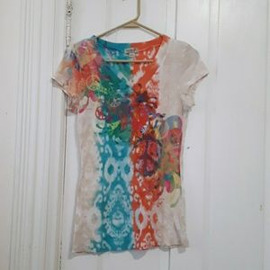 one world live and let live vneck top